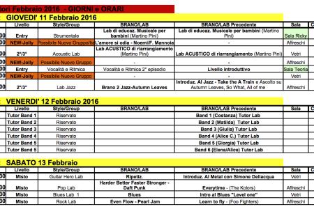 Lab febbraio 2016 – gli orari